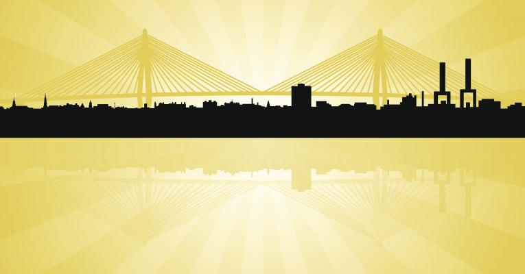 Charleston skyline with bridges